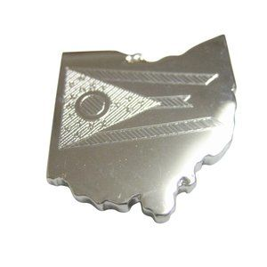 Ohio State Map Shape and Flag Design Magnet